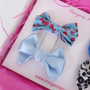 Blue Bow Hair Clip Set Blue Cherries and Pale Blue Satin