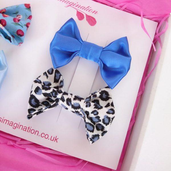 Blue satin and Leopard print hair bows