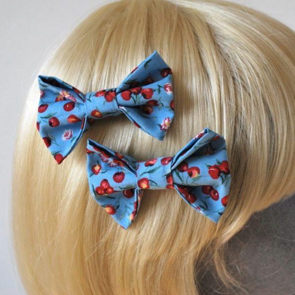 Blue Cherry Hair Bows