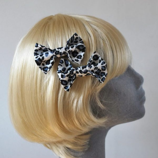 Blue Leopard Bow Hair Clips
