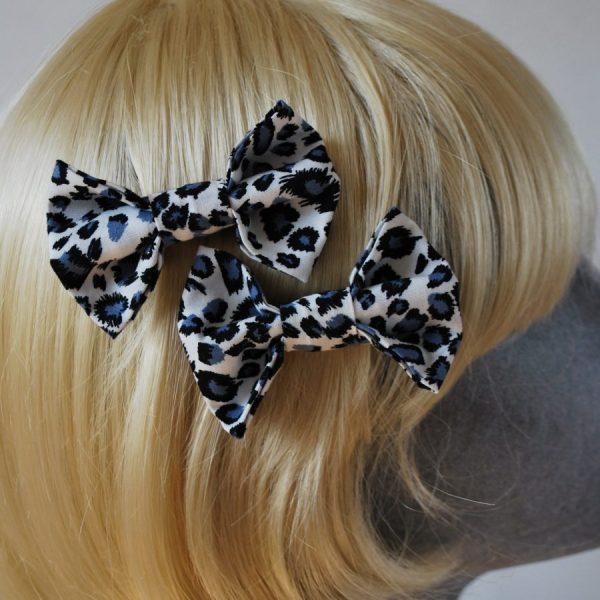 Blue Leopard Hair Bows