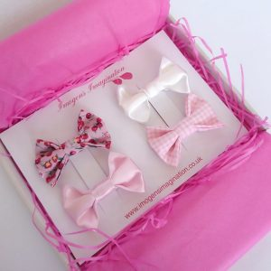 Pink Bow Hair Clip Set