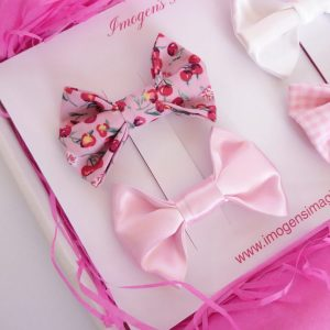Pink Bow Hair Clip Set Pink Cherries and Pink Satin