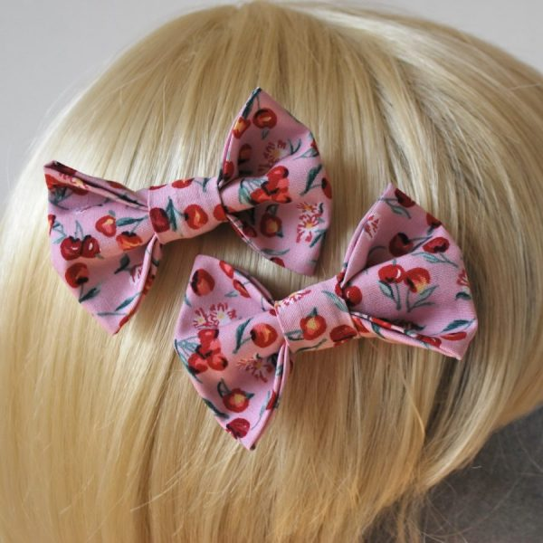 Pink Cherry Hair Bows