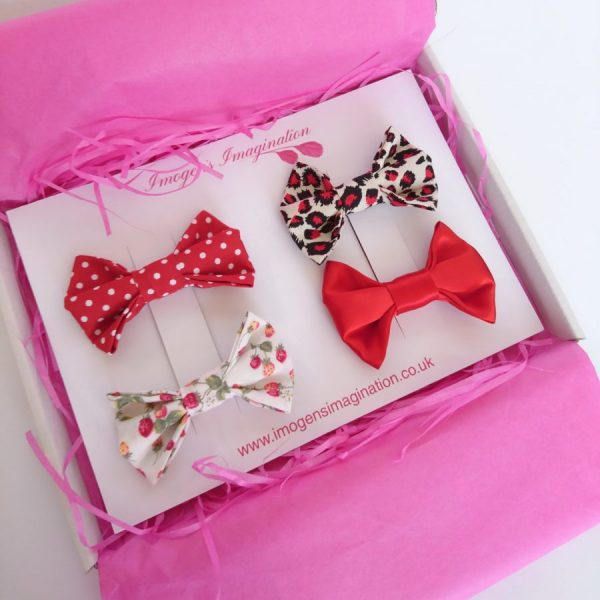 Red Bow Hair Clip Set