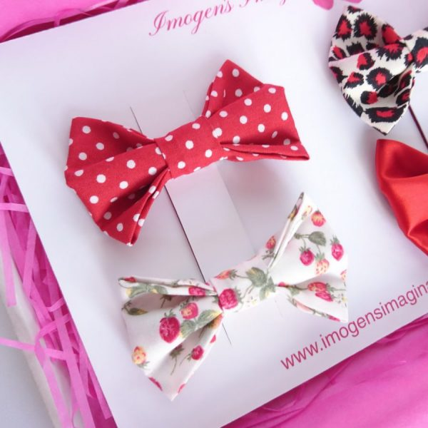 Red Bow Hair Clip Set Red Polka Dots
