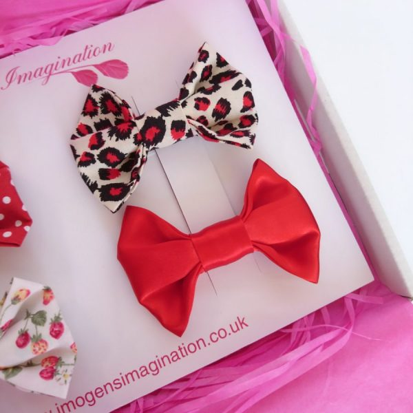 Red Satin and Red Leopard Hair Bows