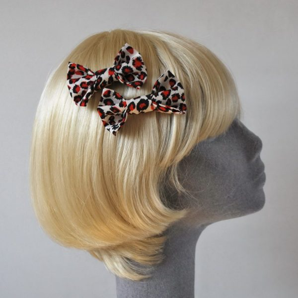 Red Leopard Bow Hair Clips