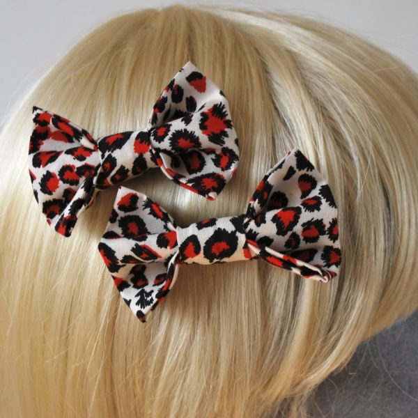 Red Leopard Print Hair Bows