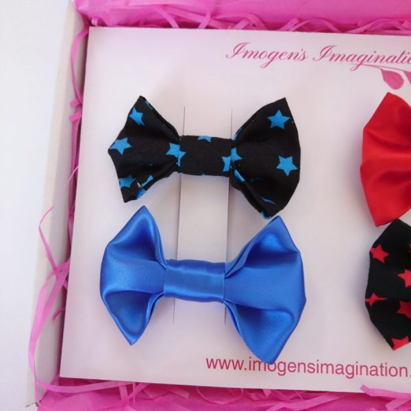 Blue Star Bow Hair Clip Set with Blue Satin Hair Bow