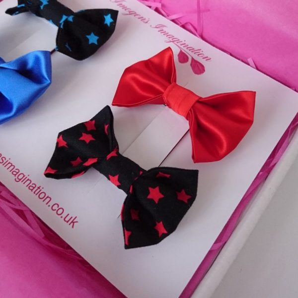 Red Satin and Red Star Hair Bow Set