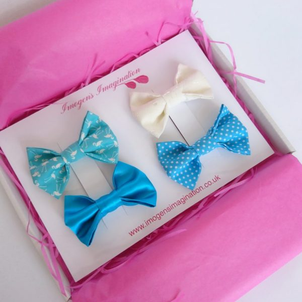 Turquoise Bow Hair Clip Set