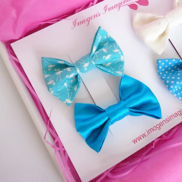 Turquoise Bow Hair Clip Set - Turquoise Flamingo and Turquoise Satin Bow Hair Clips