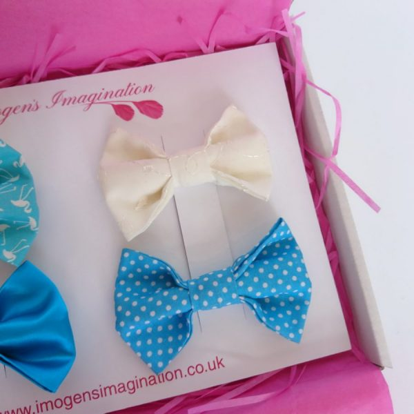 Ivory Broderie Anglais and Turquoise Polka Dot Bow Hair Clips