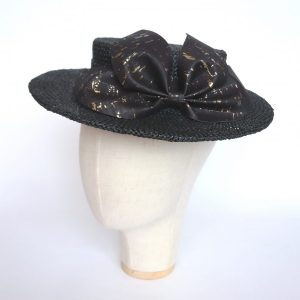Black Boater Hat with Cork Leather Bow