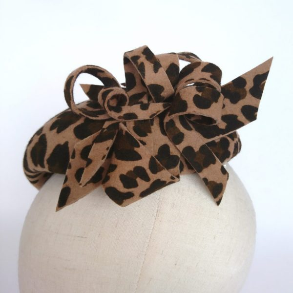 Detail of decorative loops on a leopard felt hat by Imogen's Imagination