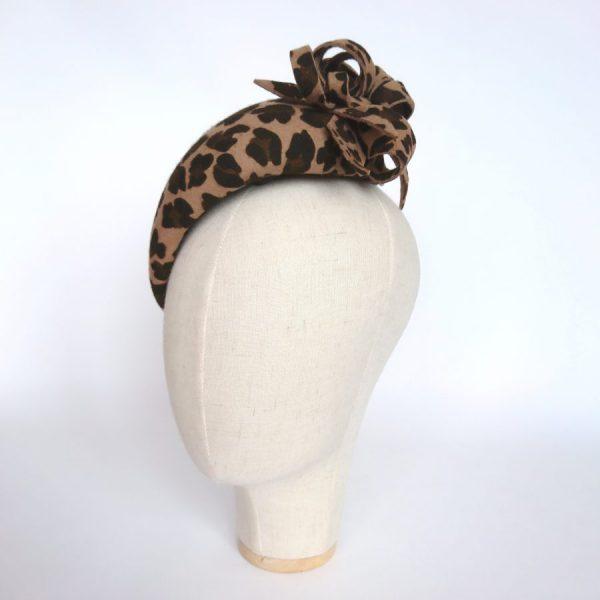 Leopard Winter Wedding Hat