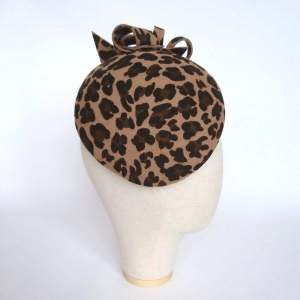 Leopard Felt Cocktail hat