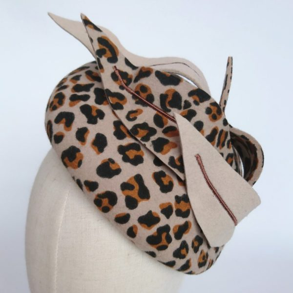 Leopard Felt Sloped Button Hat with Faux Feathers