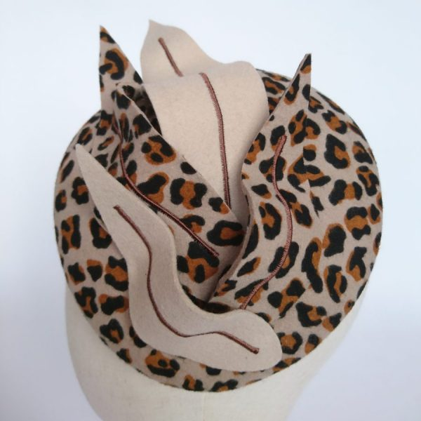 Leopard Felt Hat with Faux Feathers