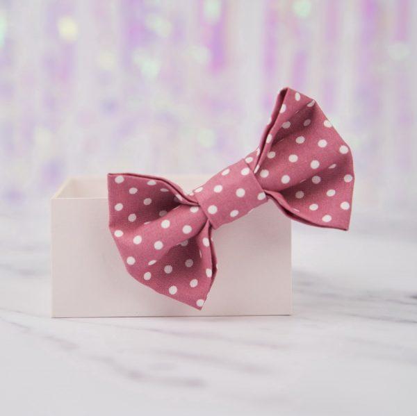 Dusky Pink Polka Dot Bow Hair Clip
