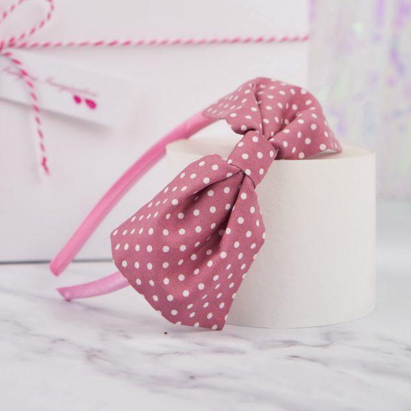 Dusky Pink Polka Dot Bow Headband