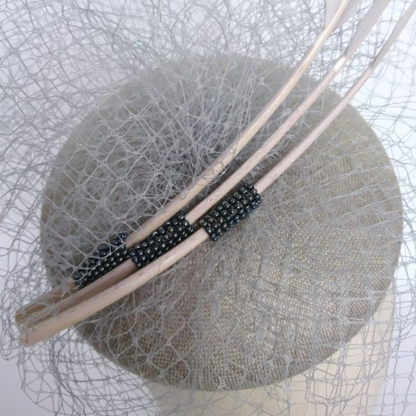 Detail of handsewn beads on a hat by Imogen's Imagination
