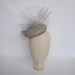 Grey Straw Hat with Veiling and Feathers