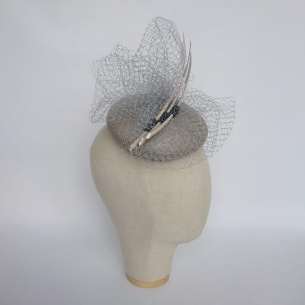 Grey summer wedding hat