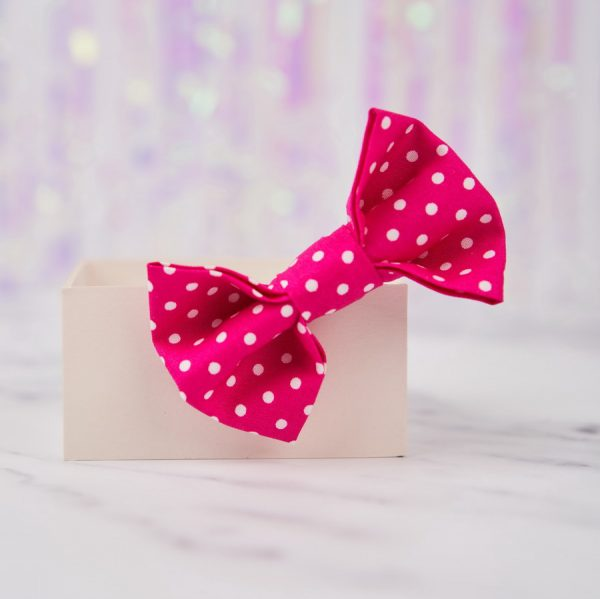 Hot Pink Polka Dot Bow Hair Clip
