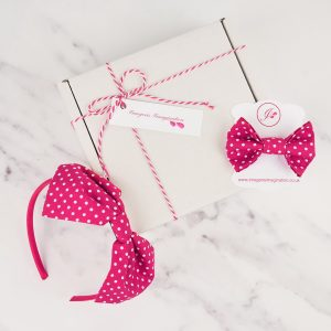 Hot Pink Headband and Hair Clip Gift Set