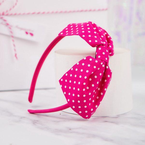 Hot Pink Polka Dot Bow Headband