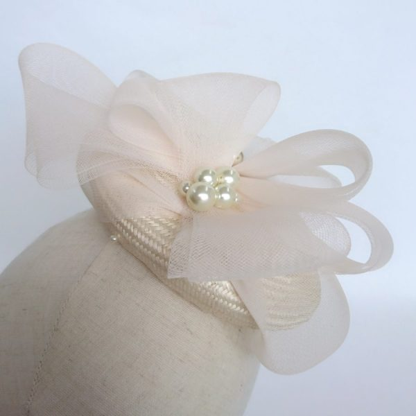 Hat for a Bride with Large Pearl Beads