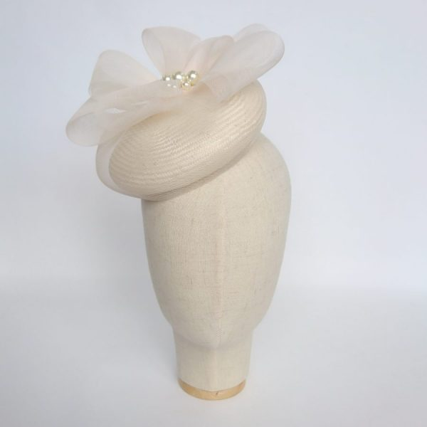 Ivory Straw Hat with Crinoline Loops