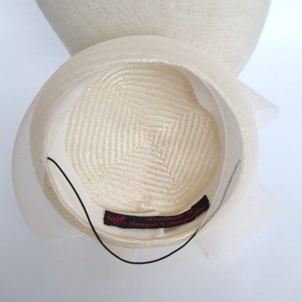 Ivory Straw Cocktail Hat by Imogen's Imagination