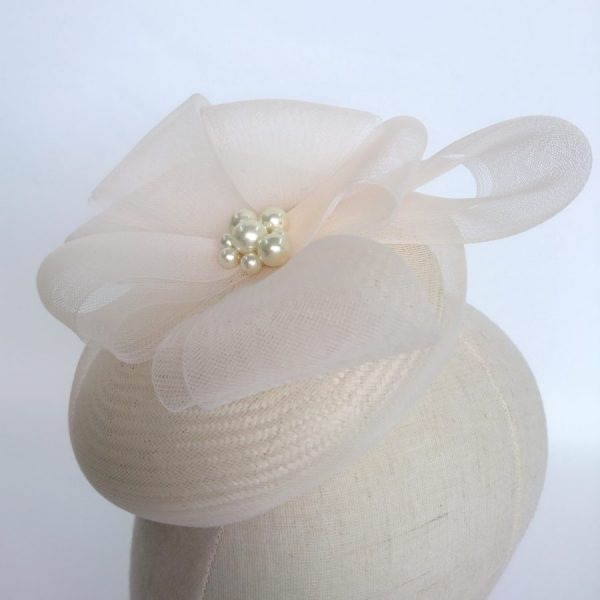 Ivory Bridal Hat with Pearls