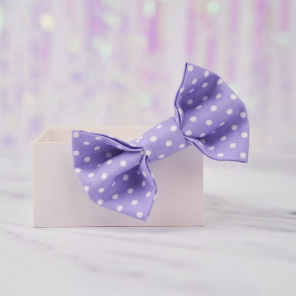 Lilac Polka Dot Bow Hair Clip