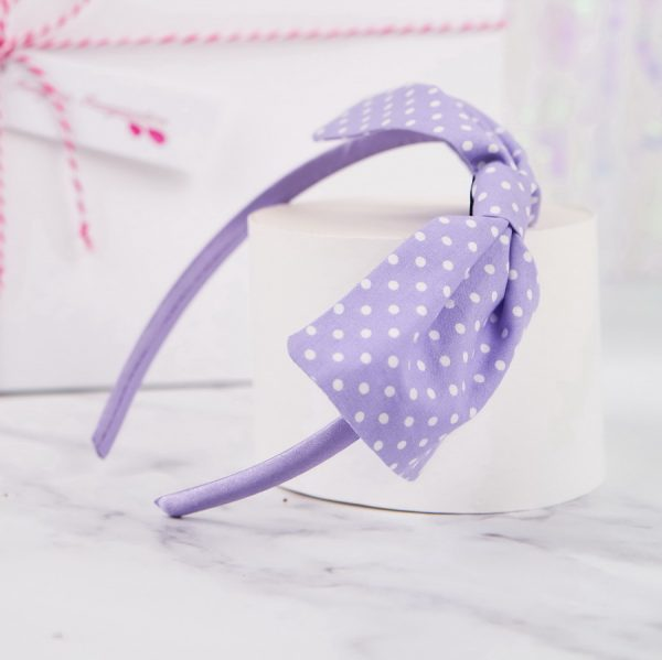 Lilac Polka Dot Bow Headband