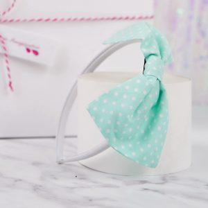 Mint Green Polka Dot Bow Headband