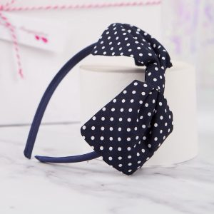Navy Blue Polka Dot Bow Headband