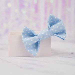 Pale Blue Polka Dot Bow Hair Clip