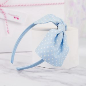 Pale Blue Polka Dot Bow Headband