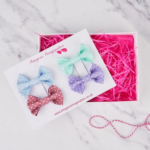 Pastel bow hair clip gift set