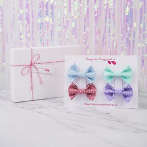 Pastel Polka Dot Bow Hair Clip Gift Set with Gift Box