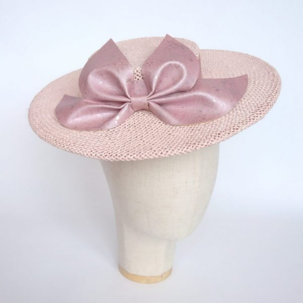 Pink Boater Hat with Cork Leather Bow