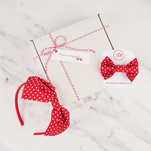 Red Headband and Hair Clip Gift Set