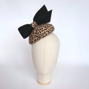 Leopard Felt Percher Hat with Black Bow