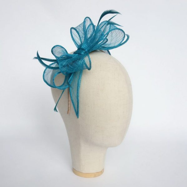 Turquoise Bow Fascinator with Biot Feathers