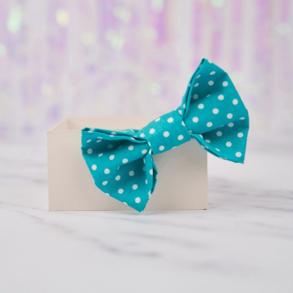 Turquoise Polka Dot Bow Hair Clip