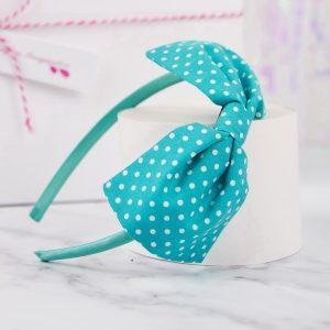 Turquoise Polka Dot Bow Headband